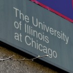 "A sign that reads ""The University of Illinois at Chicago"""