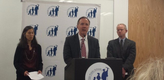 Health Commissioner Julie Morita, CPS CEO Forrest Claypool and acting Water Management commissioner Barrett Murphy announce test results from pilot tests for lead in 32 CPS schools.