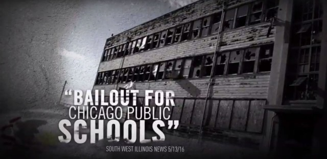 An image of an abandoned building used to portray a Chicago school in an ad from Illinois Republicans.