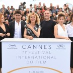 Actors Isabella Ferrari, Riccardo Scamarcio, director Valeria Golino, actors Valerio Mastandrea, Jasmine Trinca, and Valentina Cervi pose for photographers during a photo call for the film 'Euphoria' at the 71st international film festival, Cannes, southern France, Tuesday, May 15, 2018.