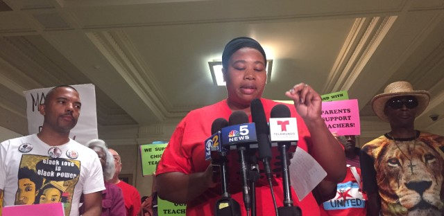 Sherise McDaniel, with the Chicago organization Parents 4 Teachers, advocated against closing schools and for affordable housing for people of color. Some requests could not be addressed with a teachers' contract.