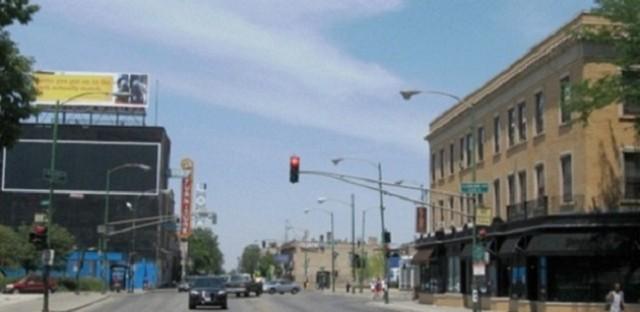 Milwaukee Avenue at Logan Boulevard--view northwest