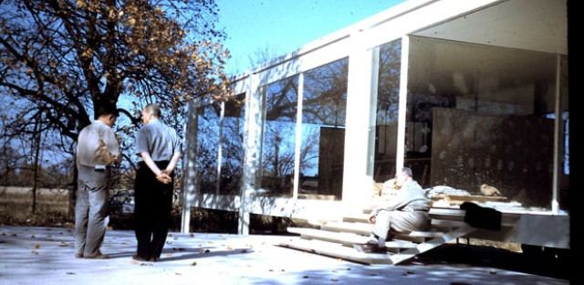 The late Chicago architect Y.C. Wong with Mies van der Rohe at the Farnsworth House in Plano, Ill. during its construction circa 1951.