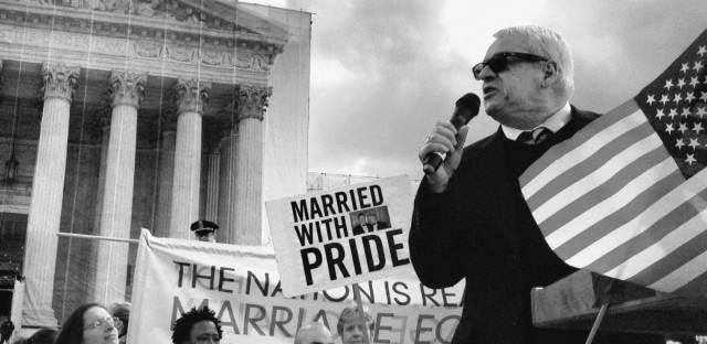 Cleve Jones speaks outside the Supreme Court in June 2013.