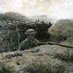"Harvey Dunn's 1918 oil painting The Sentry shows a soldier coming up from the trenches. ""You see in his eyes what would later become known as the thousand-yard stare,"" says exhibit curator Peter Jakab."