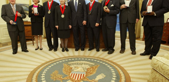 President Bush, center, participates in a ceremony for the National Humanities Medal for the year 2002 in the Oval Office of the White House, Thursday, Feb. 27, 2003 in Washington. Donald Kagan is third from left.