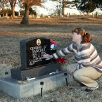 Jenna West At The Headstone of Her Son Generro Sanches, Killed By A Man With Mental Illness