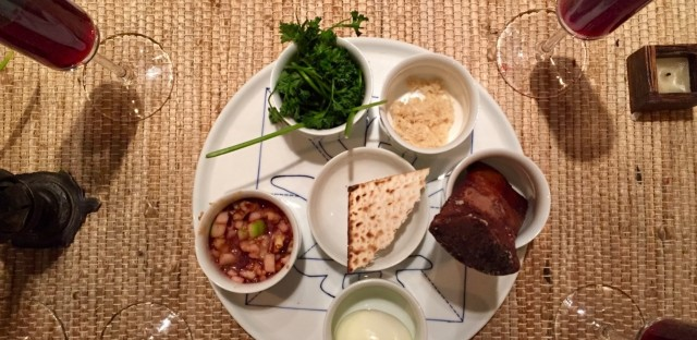 """A Seder plate at the """"Gentile Passover"""" hosted by Tiffany Wang and her sister, Charlene Wang de Chen, last year."""