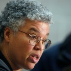 Cook County Board President Toni Preckwinkle speaks at a news conference in Chicago on Jan. 26, 2012.