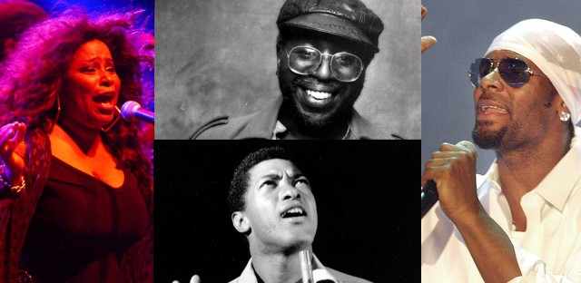 From left (clockwise): Chaka Khan, Curtis Mayfield, R. Kelly and Sam Cooke.