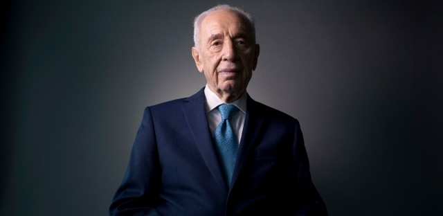 In this Monday, Feb. 8, 2016 photo, Israel's former President Shimon Peres poses for a portrait at the Peres Center for Peace in Jaffa, Israel.