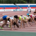 Russia's athletes compete during the National track and field championships at a stadium in Cheboksary, Russia, Monday, June 20, 2016. The Russian national track and field championships were supposed to offer a chance to secure Olympic places, but with Russia's athletes now banned from the Rio games, excitement for competition has been replaced by despair and defiance.