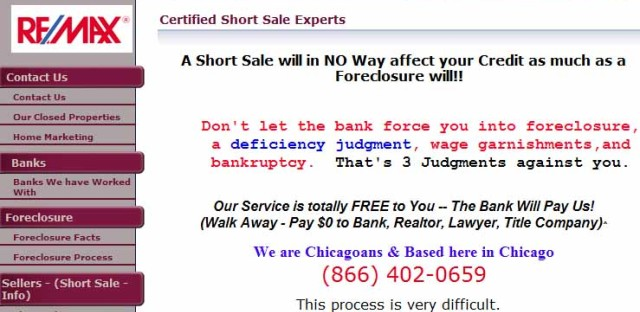 The homepage of shortsaleschicago.com.