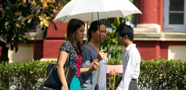 Pan Ei Mon, center, wife of Reuters journalist Wa Lone, walks along with Chit Su Win, left, wife of Reuters journalist Kyaw Soe Oo, as they leave the High Court in Yangon, Myanmar Friday, Jan. 11, 2019. A court in Myanmar on Friday rejected the appeal of two Reuters journalists convicted of violating the country's Official Secrets Act during their reporting on the country's crackdown on Rohingya Muslims, and maintained the seven-year prison terms they were sentenced to last year. (AP Photo/Thein Zaw)