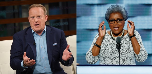 Former White House Press Secretary Sean Spicer (left) and former DNC Chair Donna Brazile (right) are set to speak at Northeastern Illinois University on September 12.