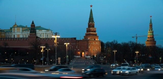 "Cars pass the Kremlin in Moscow, Russia, Monday, March 25, 2019. Russia is reacting with an ""I told you so"" on Monday in state media after the conclusion of Special Counsel Robert Mueller's investigation into Moscow's involvement in the U.S. presidential election didn't find evidence of collusion."