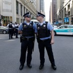Chicago police officials talk on the street