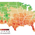 Potential economic damages are shown at the county level in a scenario in which emissions of greenhouse gases continue at current rates. Green indicates areas that could see economic benefits. To see an interactive version of this map, click here.