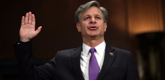 Christopher Wray is sworn in during his confirmation hearing for FBI director before the Senate Judiciary Committee last month.