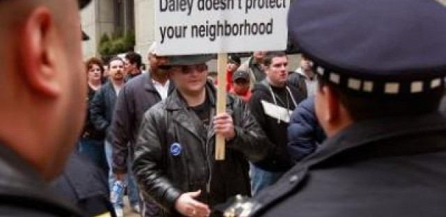 Chicago police staged protests outside of City Hall during contract talks in the spring.