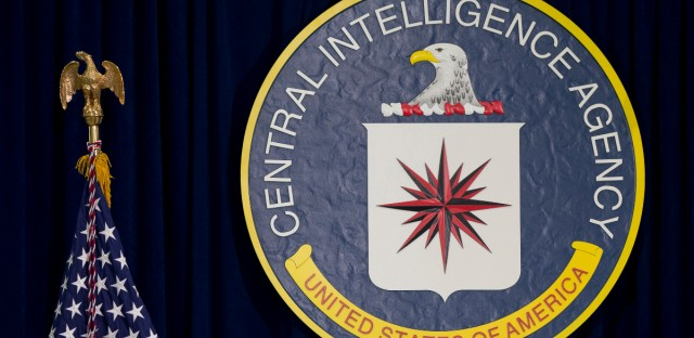 This April 13, 2016 file photo shows the seal of the Central Intelligence Agency at CIA headquarters in Langley, Va.