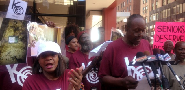 Senior public housing residents protest terrible living conditions