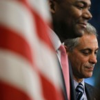 Chicago Mayor Rahm Emanuel, right, stands with Chicago Public Schools CEO Jean-Claud Brizard during a news conference after the teachers union House of Delegates voted to suspend their strike Tuesday, Sept. 18, 2012, in Chicago. The city's teachers agreed to return to the classroom after more than a week on the picket lines, ending a spiteful stalemate with Emanuel that put teacher evaluations and job security at the center of a national debate about the future of public education. (AP Photo/Charles Rex Arbogast)