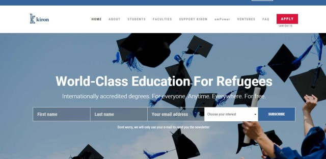 Kiron University, geared to refugees and displaced people, offers two years of online study toward a bachelor's degree. Students complete the degree at partner universities. Via Kiron University