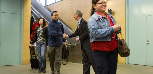 Caption this: Mayor Emanuel thanks South Loop residents at Red Line Station