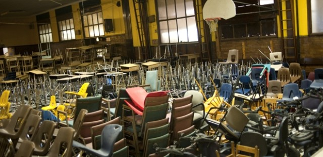 Chairs stacked up inside the closed Parkman Elementary. CPS won't close any schools this year, but they will pack up and move a few.