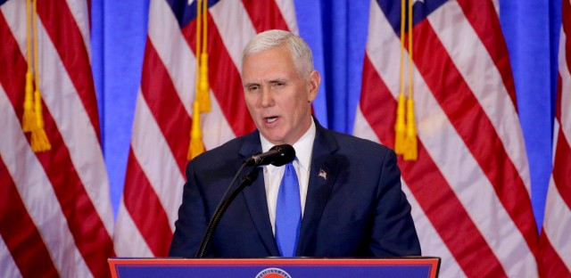Vice President-elect Mike Pence speaks before introducing President-elect Donald Trump during a news conference on Jan. 11, 2017, in New York.