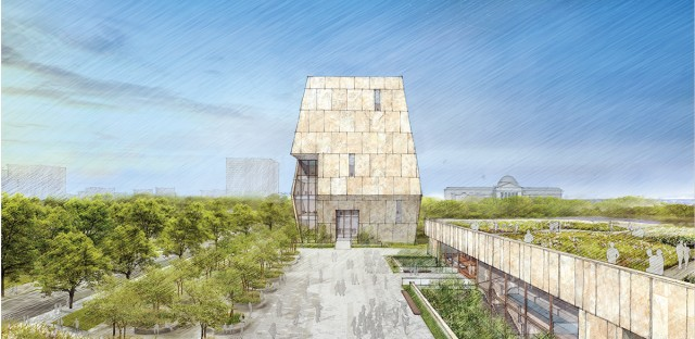 This rendering of the planned Obama Presidential Center shows the tower-like museum at the center and the library and forum portions of the campus on the right.