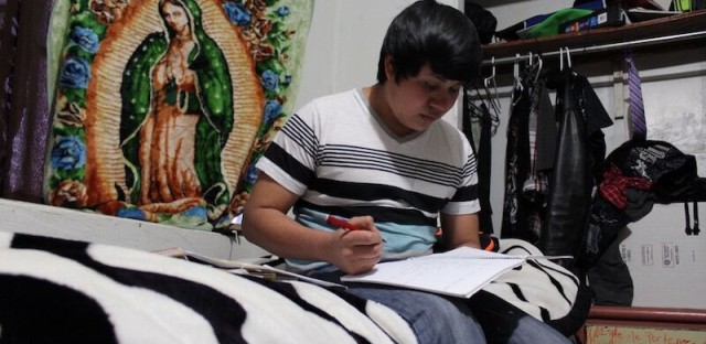 <p>Originally from Joyabaj, Guatemala, Diego studies at the home he shares with his half-brother in Liberal, Kansas. He owes $3,000 in fees, the smuggling costs to bring him to the United States.</p>