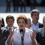 "Brazil's President Dilma Rousseff speaks after leaving Planalto presidential palace in Brasilia, Brazil, Thursday, May 12, 2016. Speaking hours after the Senate voted to suspend her on Thursday, Rousseff blasted the impeachment process as ""fraudulent"" and promised to fight what she characterized as an injustice more painful than the torture she endured under a past military dictatorship."
