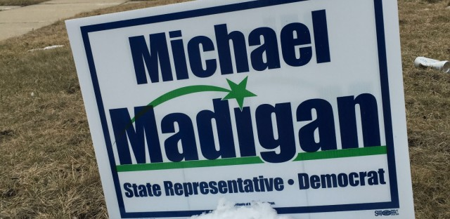 One of the thousands of signs for Illinois House Speaker Mike Madigan in this 22nd House District. You'd be hard pressed to find a sign for another candidate in this district.