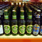 Chinese and other Asian beer brands on display at a supermarket. An ancient brewery discovered in China's Central Plain shows the Chinese were making barley beer with fairly advanced techniques some 5,000 years ago.