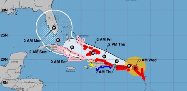 Hurricane Irma, seen here in an 8 a.m. ET projection, is predicted to remain a major hurricane as it pushes its way toward landfall in Florida this weekend.
