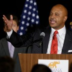 Republican Curtis Hill thanks supporters at an election night rally in Indianapolis, Tuesday, Nov. 8, 2016 after wining his race for Indiana's Attorney General. (AP Photo/Michael Conroy)