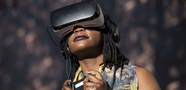 An attendee tries a Samsung Gear VR headset during the South By Southwest Interactive Festival in Austin, Texas, on March 12.