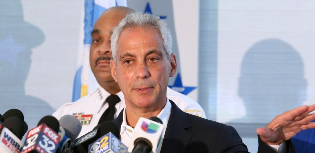 Chicago Mayor Rahm Emanuel's campaign said in a tweet that thousands of new jobs have been added and thousands of people are no longer living in poverty since the city required private businesses to increase the minimum wage paid to workers every year starting in 2015.