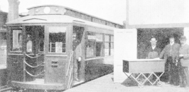 A funeral car at the Laflin station of The Metropolitan West Side Elevated, a predecessor to the CTA. Taken in 1905.