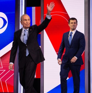 From left: Former New York City Mayor Mike Bloomberg, former South Bend, Ind., Mayor Pete Buttigieg and Massachusetts Sen. Elizabeth Warren take the stage before the Democratic debate.