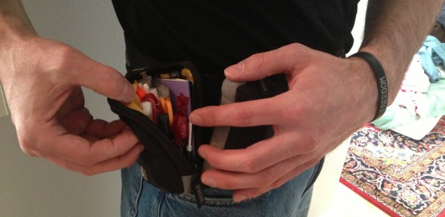 Dan has over 100 emergency items in this belt. He carries it with him everywhere, everyday.