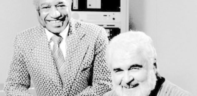 Larry Smith (left) with fellow WBEZ host Dick Buckley.
