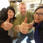 Reporter Monica Eng (right) and Curious City editor Alexandra Salomon (left) visited with Italian chef Gabriele Bonci, who has two pizza restaurants in Chicago.