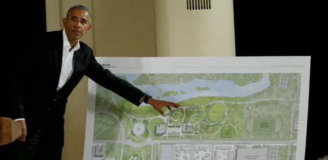 Former President Barack Obama speaks at the South Shore Cultural Center near a rendering of the Obama Presidential Center in 2017.