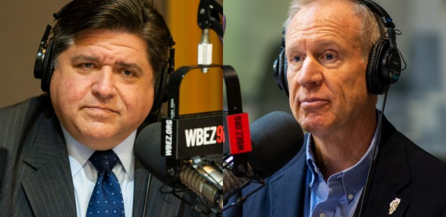 Democratic gubernatorial candidate JB Pritzker (left) and Republican Gov. Bruce Rauner (right) in the WBEZ studios.