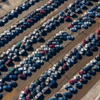 Tens of thousands of cars are impounded at Chicago's auto pounds, like this one at North Sacramento Boulevard, as seen from a drone in January 2019.