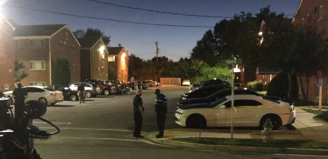 Police block off the area around the Laurel, Md., home of a suspect in a shooting at a newsroom in Maryland's capital earlier on Thursday.