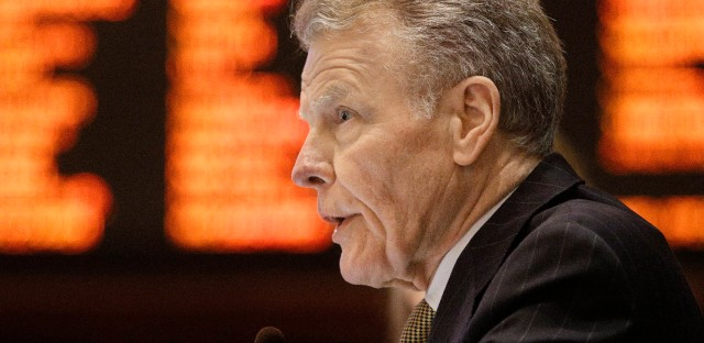 Illinois House Speaker Michael Madigan speaks to lawmakers during session at the state Capitol on Thursday. Lawmakers are pressing ahead in an effort to resolve their budget deadlock, after House Democrats pushed through a proposal that Republicans decried as phony and out of whack.